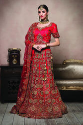 Red Color Embroidery Work Bridal Lehenga