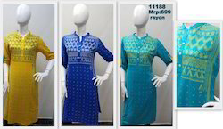 Rayon Screen Print Kurta