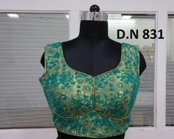 Rama Green Net Embroidered Stitched Blouse