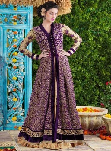 Violet Partywear Suits In Gown Style-4605 - Purple Net Anarkali ...