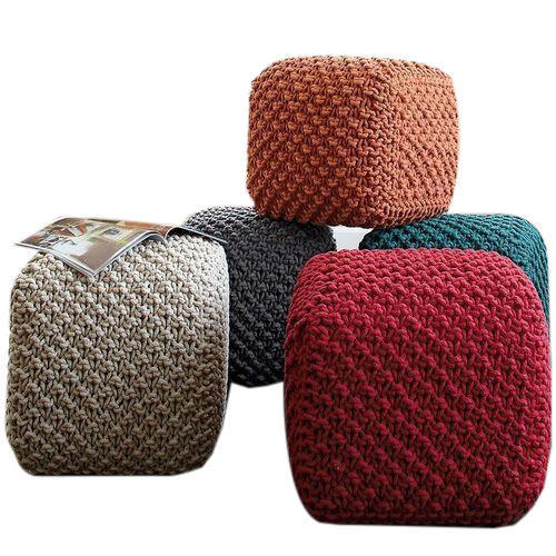 Fancy Poufs Knitted Cotton Cube Pouf Manufacturer From Panipat
