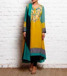 Designer Embroidery Party Wear Long Kurti Salwar Suit