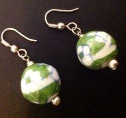 Stylish Blue Pottery Earrings
