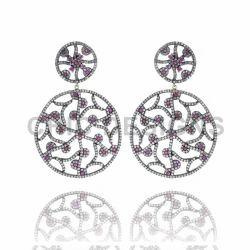 Ruby Gemstone Filigree Earrings