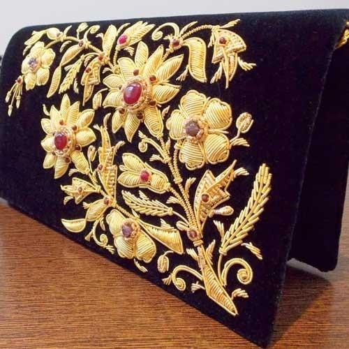 Hand Embroidered Velvet Fabric