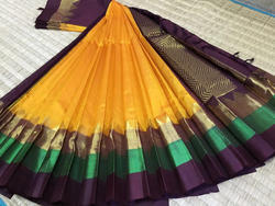 Korvai silk border Silk Cotton Sarees