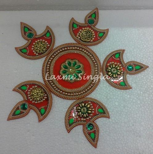 Decorative Rangoli Designs With Stones And Kundans