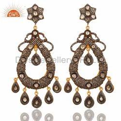 Sterling Silver Rose Cut Diamond Earrings