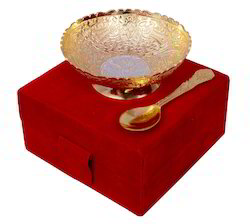 VESPL Silver Gold Plated Brass Bowl