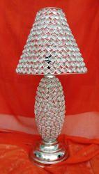 white metal crystal table lamp