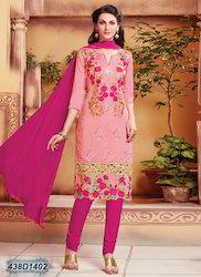 Designer Pink Embroidered Churidar Suit
