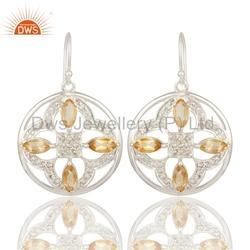 Citrine Gemstone 925 Silver Earrings