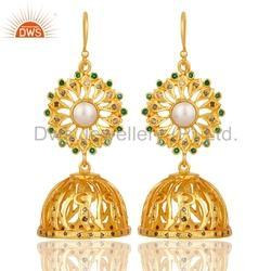Gold Plated Silver Diamond Traditional Earring