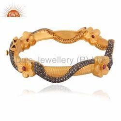 Gold Plated Pave Diamond Bangle