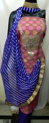 Zari Gota Patti Suit With Leheria Dupatta