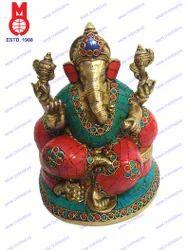 Lord Ganesh Sitting W/Pillow & Stone Work