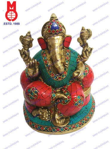 Lord Ganesh Sitting W/Pillow & Stone Work