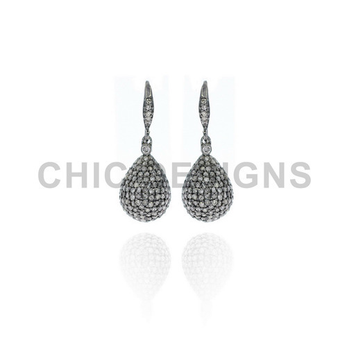 Diamond Drop Bead Earrings