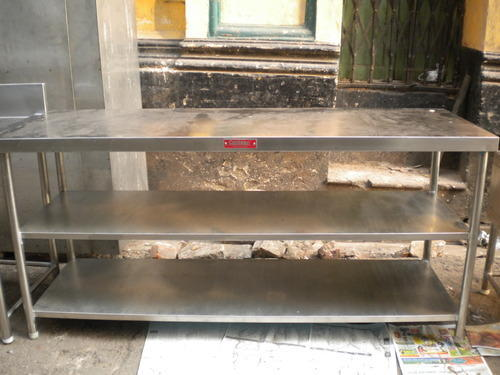 SS Table with 2 Bottom Shelfs