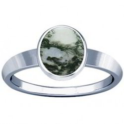 Moss Agate Sterling Silver Ring