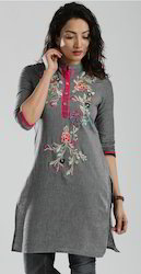 Grey Multi Color Embroidered Kurta