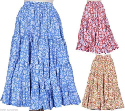 25 Yards Cotton Hand Block Print Belly Dance Skirts