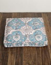 Headrest Blue Cotton Canvas Floral Printed Floor Cushion Cover