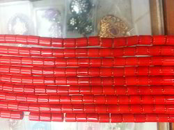 Red Coral Tube Shaped Beads
