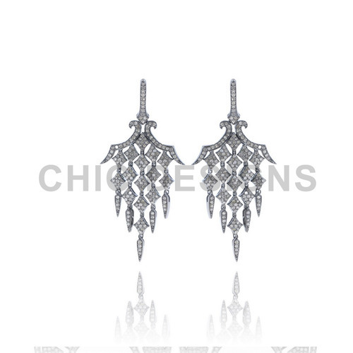 Diamond Light Weight Chandelier Silver Earrings