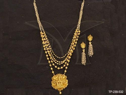 Traditional Gold Plated Temple Jewellery Necklace
