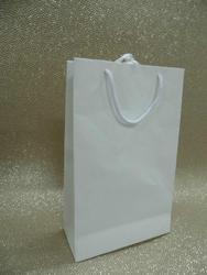 White Handmade Paper Bags With Ribbon Handles