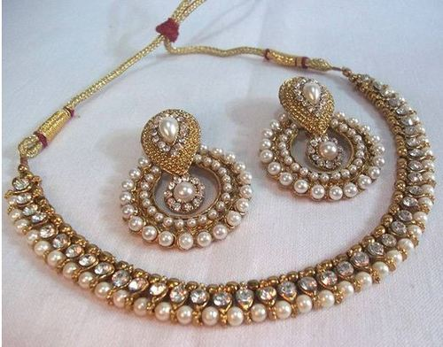 Designer Jewellery Golden Pearl Polki Necklace Set Ecommerce Online Business From New Delhi