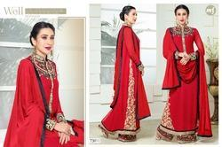 Red Heavy Work Palazzo Suit