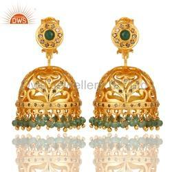 Pave Diamond Jhumkas Earrings