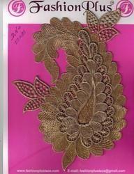 Applique Designed Gold Zari Work Patch