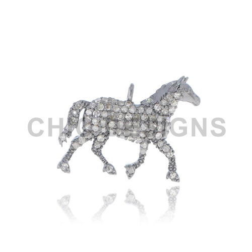 Diamond Walking Horse Pendant