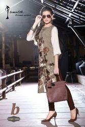 Designer Wear French Crepe Foil Printed Kurti