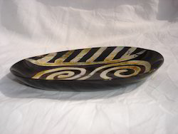 Oblong Shaped Buffalo Horn Plates With Carving