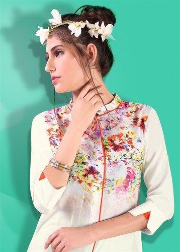 Beautiful White Pure Cotton Rayon Kurtis