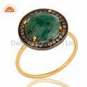 Emerald Gemstone Pave Diamond Ring