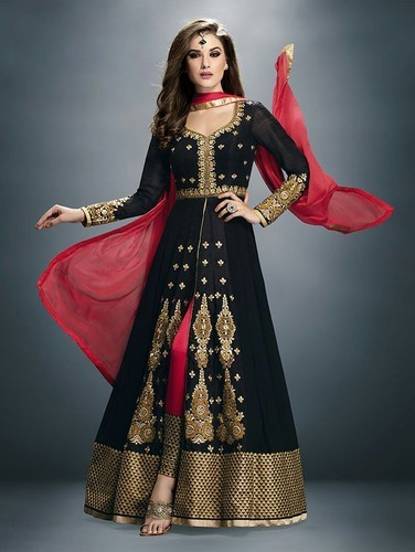 Black Floral Anarkali Suit