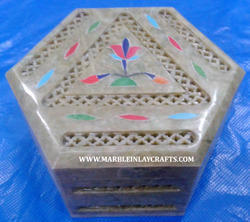 Soapstone Box with Inlay Work