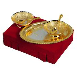 VESPL Special Gifts Silver And Gold Plated Brass Bowl 5 Pcs