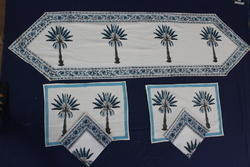 Cotton Hand Block Print Table Mat Runner  With 6 Napkins