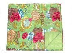 Handmade Kantha Quilt Vintage Reversible Kantha Blanket