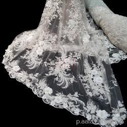 3D Embroidered Tulle Net Fabrics