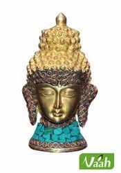 Vaah Brass Buddha Face with Stone Work