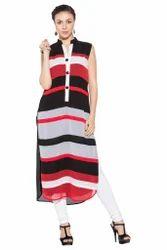 Stylish Designer Georgette Multi Coloured Long Kurta