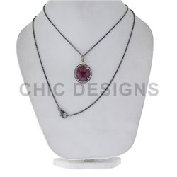 Ruby Diamond Silver Chain Necklace