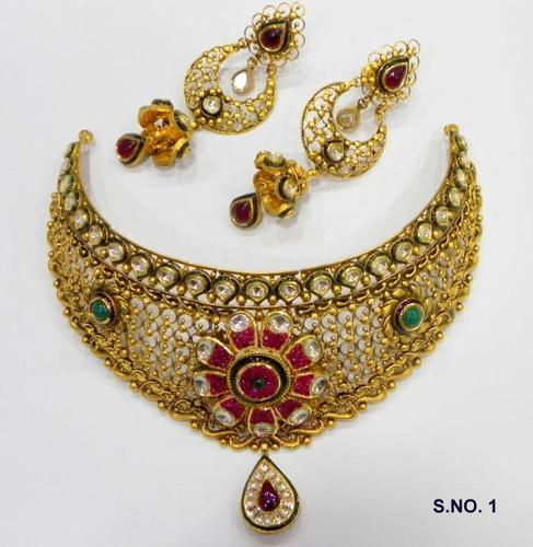 fashion gold and green chandan set bridal